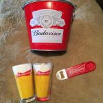 BUDWEISER Promo Bucket, Glasses and Opener