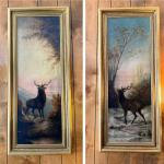 Pair of late Victorian paintings-majestic Elks in mountain scenes