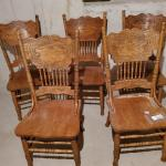 5 farm style oak chairs