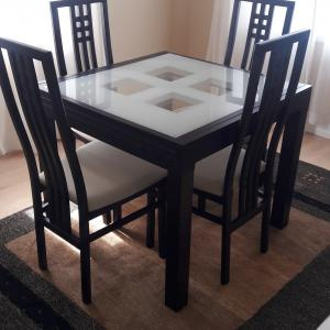 Photo of Scandinavian Design glass top table 4 chairs