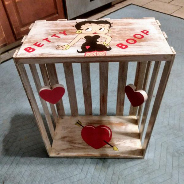 Photo of Betty Boop Hand Painted Wooden Crate