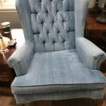 2 blue wingback chairs
