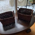 Pair of banana leaf baskets