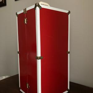 "Photo of Vintage red metal  21"" doll chest wardrobe steamer trunk"