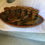 Painted & Lacquered WoodenTray with Cups and spoon.