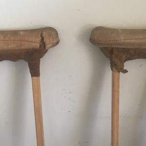 Photo of Vintage 1980's Wood Frame Underarm Crutches
