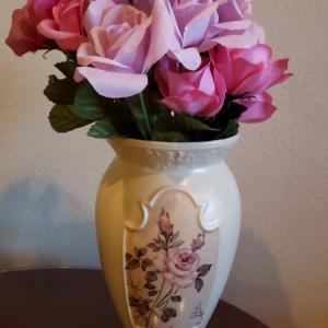 "Photo of Vintage FTD Laura Ashley 9.5"" Ivory English Ceramic Footed Flower Vase"