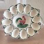 Vintage Oval Porcelain Rooster 12ct Deviled Egg Platter Made in Italy