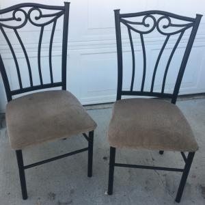 Photo of Set 3 Black Cast Iron Style Beige Seat Chairs