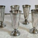 6 Antique Austrian 800 Silver cups Brightwork JB maker mark SHIPPING AVAILABLE