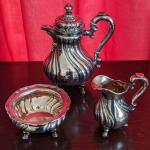 Rare Emil Harnisch Gebr. Friedlander Sterling Silver Teapot Creamer Sugar