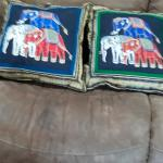 Throw pillows with elephants