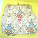 Vintage Cream Colored Carpet Bag Purse