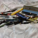 Vintage pen lot, Sheaffer, Estebrook, MontBlanc, advertising, 14k nib