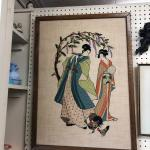 Mid-century framed Japanese embroidered art