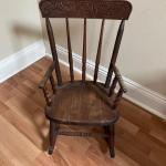 Lot #61 -- Antique childs' press back rocker