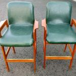 Lot #23 Pair Leather and Teak Barstools
