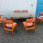 Lot #16  Danish Modern Thick Beveled Glass Dining Room TABLE w/ Teak Base