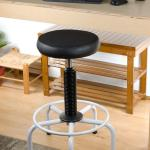 Adjustable Height Swivel Stool, Wood or Foam Seat