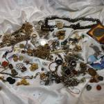 Mixed vintage jewelry & bits lot - Gold fill, Victorian, watch chains, charms, c