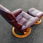 Lot #27 Norwegian Modern leather Chair and Ottoman with Bent Wood