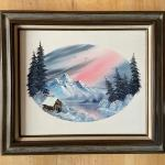 Bob Ross Style Oil on Canvas Mountain Scene
