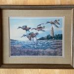 Medium Framed and Linen Mat Print Ducks with Lighthouse