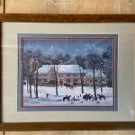 Large Framed and Matted Snow Scene Print