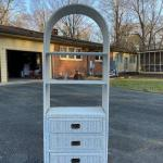 Vintage White Wicker Etagere