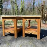 Pair #1 Handcrafted Solid Oak Pair of End Tables