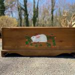 Handcrafted Large Trunk/Bench with Hand Painted Bunny