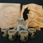 Lot 166: Vintage Ainu Carved Wood Panels and Toyo Tea Set