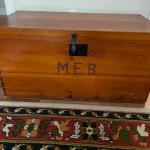 Lot #71 -- Antique wooden trunk with initials