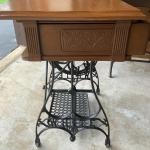 Antique white sewing machine Table converted to table