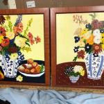 Set of 2 Colorful Delft Blue Flower Vase Paintings