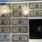 Lot 95 - lot of (4) $1 bills, lot of (7) $2 dollar bills, American heritage mint