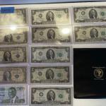 Lot 95 - lot of (4) $1 bills, lot of (7) $2 dollar bills, American heritage mint