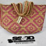 Magid Womens Straw Jute Geometric Toast Fuchsia Printed Tote - New