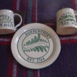 Newburyport & Newbury pottery cups and dish