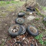 4 vintage British wire / spoke wheels