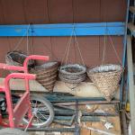 4 hanging wicker plant pots