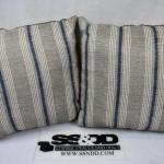 "Qty 2 Mainstays Stripe Decorative Pillows, 18"" x 18"", Tan w/ Blue - New"