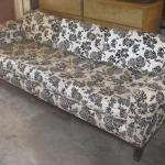 Lot 9 Vintage Barker Brothers Chinese Modern Couch White & Black Fabric Chrysant