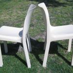 Lot 3 MCM Pair White Plastic Chairs 1960s Italy