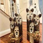 2 Handcrafted log reindeer families.
