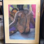 ART 50 Pastel Drawing by Sid Hoskins Long Beach Artist Backside