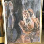 ART 39 Pastel Drawing by Sid Hoskins Long Beach Artist Grey Beard