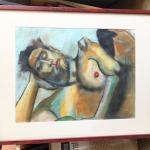 ART 40 Pastel Drawing by Sid Hoskins Long Beach Artist Resting