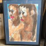 ART 48 Pastel Drawing by Sid Hoskins Long Beach Artist Sisters