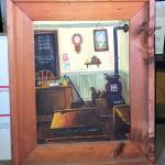 Lot 106 Vintage Acrylic Painting Old Fashioned School Room w/ Rustic Frame Artis